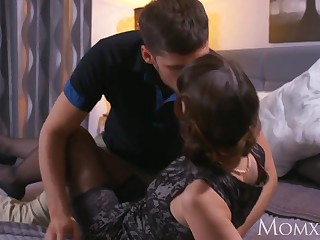 Dark haired milf drizzles after blowage and rock hard drill