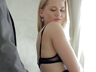 Hot blonde GF Violette Pure is happy anent ride strong cock in the morning
