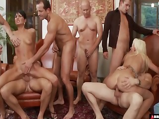 Birthday Party Broad in the beam Group Sex Gangbang