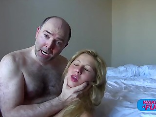 Muted old man fucks blonde haired girl in both holes