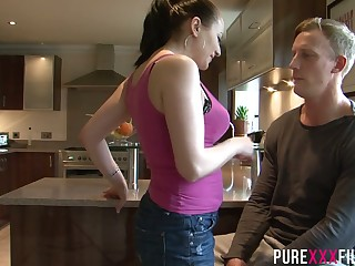 Horny mommy Lara Jade Deene seduces stepson and bangs him in the kitchen