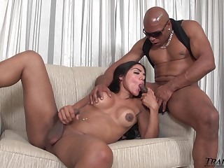 Saleable transsexual hottie Drika Lima is anal banged doggy by black stud