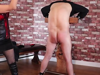 Femdom Tied Slave Extreme Ballbusting with the addition of Whipping Torture PART1