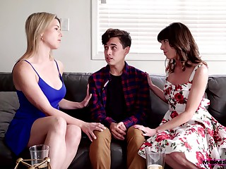 Stepmom can't repel fucking her stepson with her bestie
